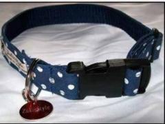 Blue Polka Dog Collar