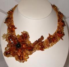 Baltic amber flower collar