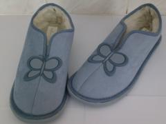 Ladies Blue Butterfly Fur Lined Slippers