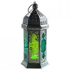 Moroccan Style Large Glass Lantern - Green &