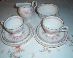 Pretty pink Royal Tuscan tea set for 2 with