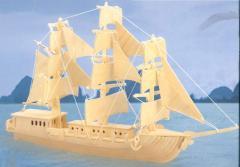 Junk boat woodcraft 3D wooden model construction