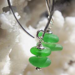 Bright Green Sea Glass Earrings
