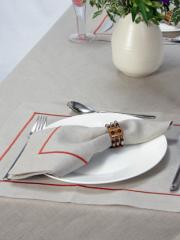 100% Organic Linen Napkins: natural linen/ ocre