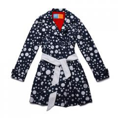 Stylish, button up navy trench coat with white