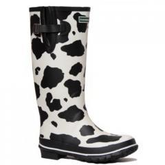 Cow print design wellies