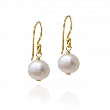 White freshwater pearl drop earrings