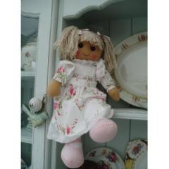Vintage style rose dress large rag-doll