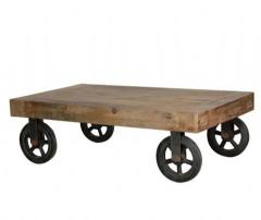 Coffee Table/Iron Wheels