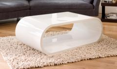 Oval gloss coffee table white