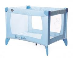 B is for bear travel cot - blue