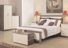 High-gloss cream with walnut finish bedroom