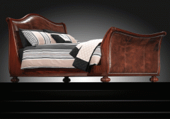 Brown leather - Wooden Bedstead
