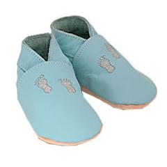 Pale Blue Natural Soft Baby Shoe with Embroidered