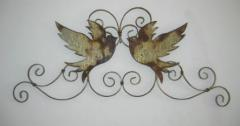 Metal wall hanging , pair of steel doves on