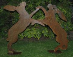 Life size steel / metal profile of Boxing Hares