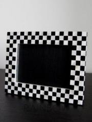 Black and white mother of pearl photo frame