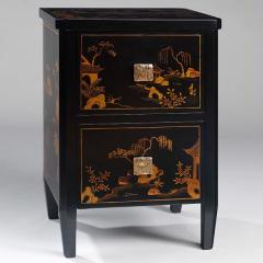 Black Decorated Lacquer Bedside Table