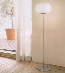 Glass and chrome floor lamp