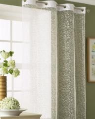 Ready Made Flock Leaf Eyelet Voile Panel White