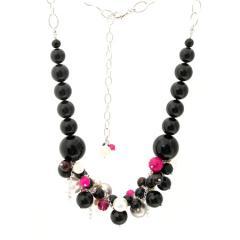 Black onyx, swarovski pearl and fuchsia pink