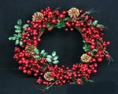 Twig/Matt Red Berry/Leaf Wreath