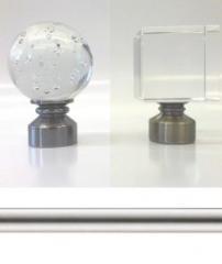 28mm Satin Steel Metal Curtain Poles. Glass Ball