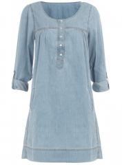 Mid wash denim smock dress