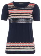 Navy pointelle stripe jumper