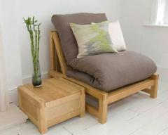 Solid Birch Single Sofa Bed - Linear