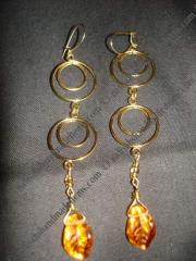 Gold Plated Double Hoop Leaf Earrings