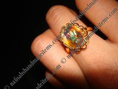 Gold Plated Adjustable AB Facet Cabochon Ring