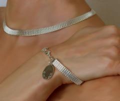 Stylish Silver Mesh Necklace and Bracelet