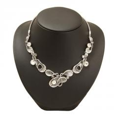 Silver abstract swirl collar necklace