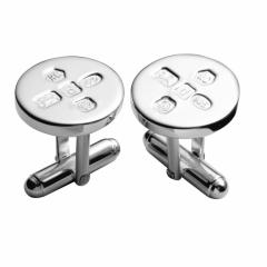 Circular feature hallmark cufflink, swivel fitting