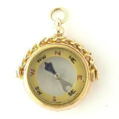 9ct gold compass fob, 1921