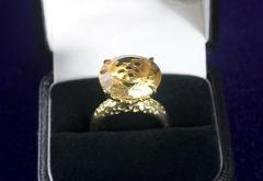 RG Citrine, Gold Plated Ring