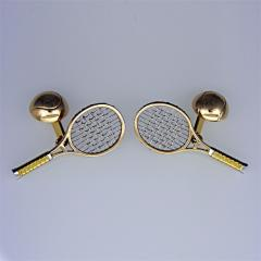 Tennis racquet cufflinks