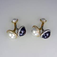 Pearl and diamond cufflinks