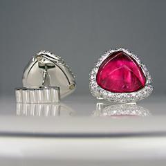 Rubellite and diamond cufflinks
