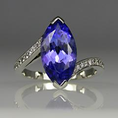 Tanzanite and diamond ring in platinum