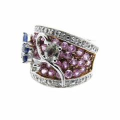 14ct Blue/Pink Sapphire Ring