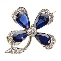 Period Sapphire and Diamond Floral Brooch