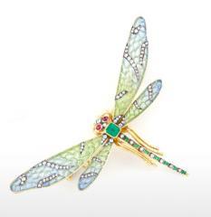 Plique a Jour Art Nouveau Dragonfly Brooch