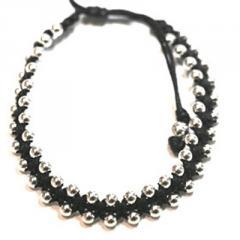 Silver & Cord Friendship Bracelet