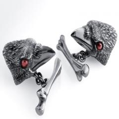 Crow with Garnet Eyes Cufflinks
