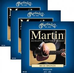 Martin M150 Medium Acoustic Guitar Strings 3 Pack