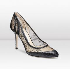 Exquisite Shoe with Lace Mesh detailing and glossy