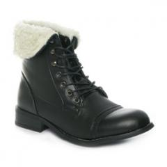 Black Faux Fur Collar Lace Up Womens Ankle Boots
