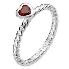 Daisy Lupin sterling silver & red cz stacker